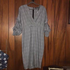 NWT!!! Zara Dress with Ruched Sleeves, Gray, XL